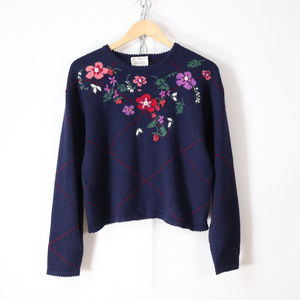 vintage 90s floral cropped wool sweater size S